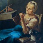 Giacomo Francesco Cipper zw. Todeschini, Staruszka z kotem, koniec XVII lub pocz. XVIII w., olej,płótno;