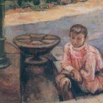 Jacek Malczewski, Chłopiec u studni, po 1905, olej/ płótno