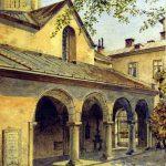 Alfred Kamienobrodzki (1844-1922), Podwórze Katedry Ormiańskiej, k. XIX w., papier, akwarela