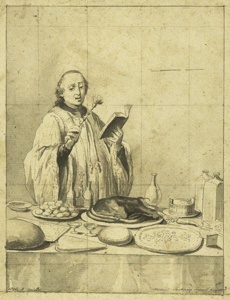 """Michał Stachowicz (1768 - 1825), """"Święcone"""", 1808, piórko, lawowany tusz/papier, prezentowany w świetle kompozycji, sygn. i dat."""