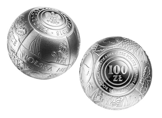 Moneta 100 zł. – 100. rocznica odzyskania przez Polskę niepodległości